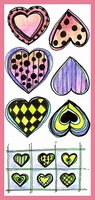 Funky Doodles Large Hearts    per vel