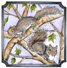 Doug and Nora's Squirrels in notched square   per stuk