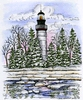 Lighthouse and Spruce trees   per stuk