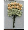 Rose Bunches Green-Off White    per set
